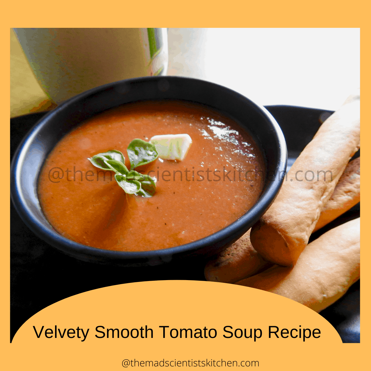 A serving of tomato soup with home grown basi and a dollop of butter