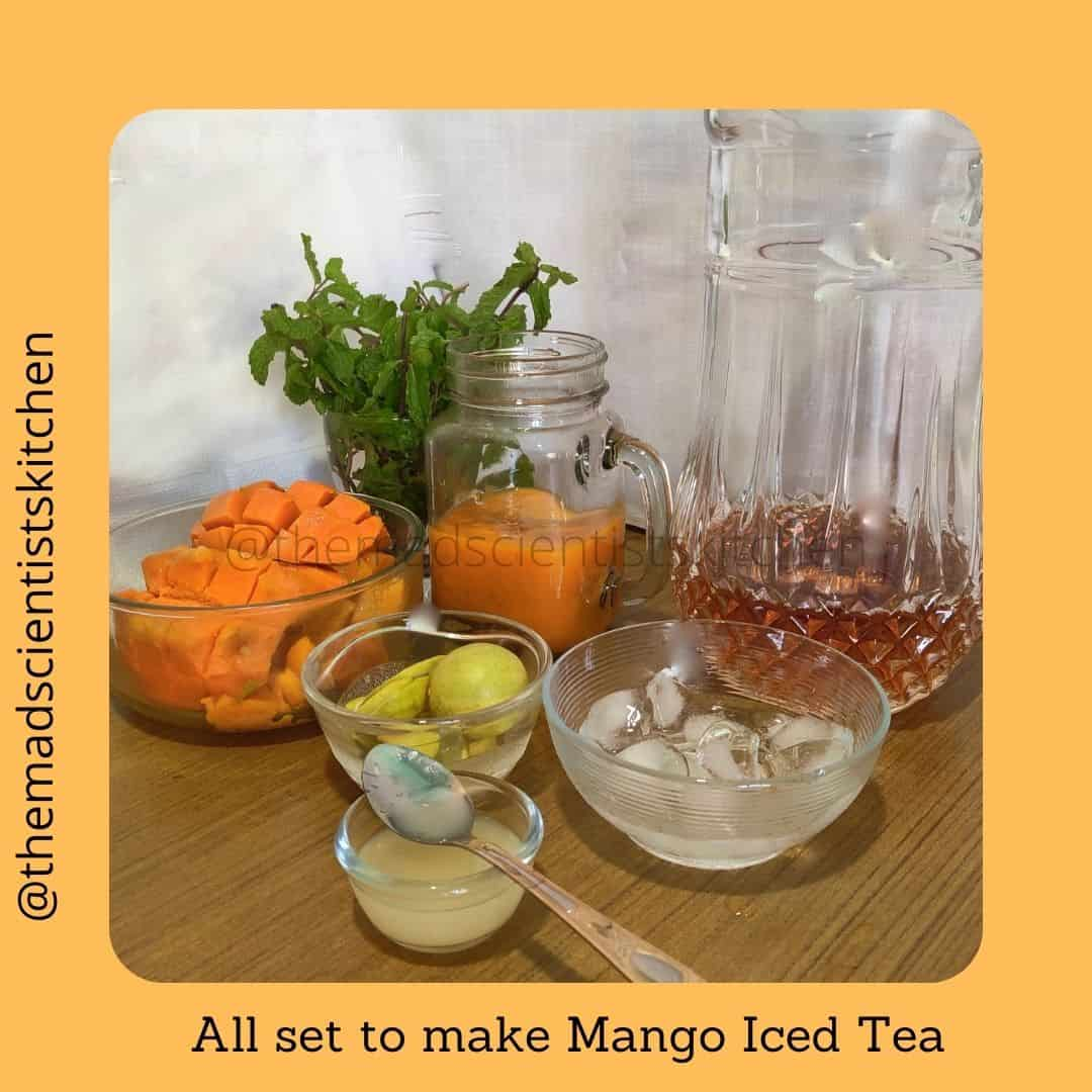 Making some Make the Summer cooler make some delicious Iced tea with mangoes.